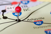 Asheville north carolina pin othe map — Zdjęcie stockowe