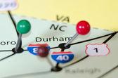 Durham north carolina pin othe map — Stock Photo