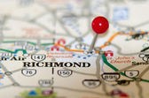 Richmond virginia pin othe map — Stock Photo