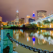 Cleveland downtown on cloudy day — Stock Photo