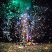 Fireworks at home in a driveway — Stock Photo
