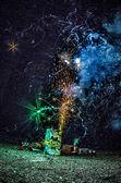 Feuerwerk zu hause in einer einfahrt — Stockfoto