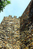 Detalle de una pared de castillo y la torre — Stockfoto
