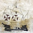 Detail of a caravel at the wind rose in marble near the Monument — Stock Photo