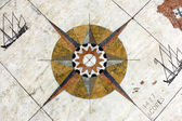 Detail of a wind rose in marble near the Monument to the portugu — Stock Photo