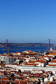 The downtown and the bridge, Lisbon, Portugal — Stock Photo