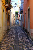 Detail of a narrow street at Lisbon, Portugal — Stock Photo