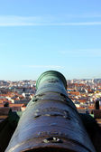 Detalj av en kanon på saint george slott, lissabon, portugal — Stockfoto