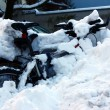 Bicycles covered with snow — Stock Photo