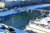View over the river Salzach at Salzburg, Austria — Stock Photo
