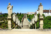 Stairway with statues of portuguese kings, Castelo Branco, Portu — Stock Photo