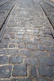 电车轨道在 bica,里斯本,葡萄牙 — 图库照片