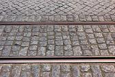 Straßenbahn schiene, lissabon, portugal — Stockfoto