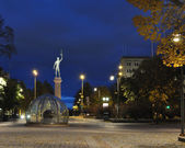 Park in Tampere (Finland) at night — 图库照片