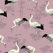 Abstract birds background, Japanese and Chinese seamless pattern — Stock Photo