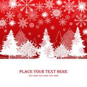 χριστούγεννα και πρωτοχρονιά σε κόκκινο φόντο, πρότυπο ρετρό δώρο χριστούγεννα — Φωτογραφία Αρχείου