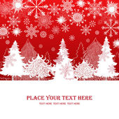 Vánoce a nový rok červené pozadí, šablona retro dárek vánoce — Stock fotografie