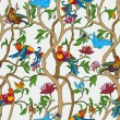 Vintage floral background, birds and flowers on fashion seamless - Stock Photo