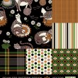 Retro backgrounds set, fashion seamless patterns, colorful — ストック写真