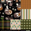 Retro backgrounds set, fashion seamless patterns, colorful — Photo