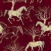 старинный красивый фон с творческой лошадей и деревья — Стоковое фото