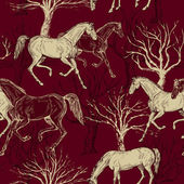 Vintage fundo bonito com cavalos criativos e árvores — Foto Stock