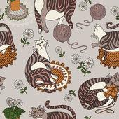 レトロな猫の背景、ファッションのシームレスなパターン、カラフルなベクトル — ストック写真