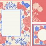 Retro, abstract photo frames set, cartoon birds and flowers — Stock Photo #19403569