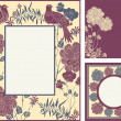 Retro, abstract photo frames set, cartoon birds and flowers — Stock Photo #19403579
