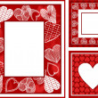 Retro, abstract photo frames set on St. Valentine - 图库照片