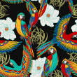 Vintage, colorful background with parrots, theme exotic beac — Stock Photo #19403599