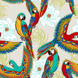 Vintage, colorful background with parrots, theme exotic beac — Stock Photo