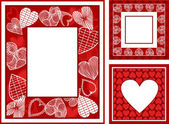 Retro, abstract photo frames set on St. Valentine — Stock Photo