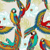 Vintage, kleurrijke achtergrond met papegaaien, thema exotische beac — Stockfoto