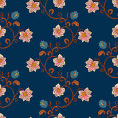 Vintage background with flowers, fashion blue seamless pattern — Stock Vector