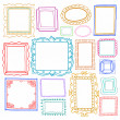 Vintage photo frames set, doodle style, ornamental and cute photo — Stock Vector #23008520