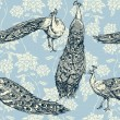 Vintage antique background, fashion seamless pattern with birds — Stock Vector #23008524