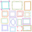 Vintage photo frames set, doodle style, ornamental and cute photo — Stok Vektör
