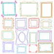 Stock Vector: Vintage photo frames set, doodle style, ornamental and cute photo
