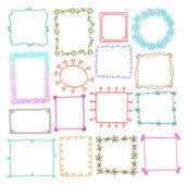 Vintage photo frames set, doodle style, ornamental and cute photo — Stock Vector
