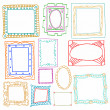 Vintage photo frames set, drawing doodle style, antigue ornament — Stock Vector