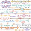 Vintage style doodles, ornaments, dividers, calligraphic design — Stock Vector