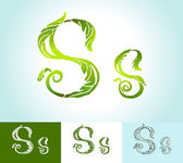 Alphabet of green leaves, creative vector, beautiful, hand-drawn — Stock Vector