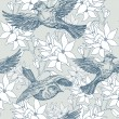 Vintage summer background, birds and flowers, fashion seamless pattern — Imagen vectorial