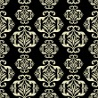 Vintage ornamental background, damask, black seamless pattern — Stock Vector