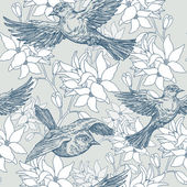 Vintage summer background, birds and flowers, fashion seamless pattern — Stock Vector