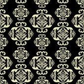 Vintage ornamental background, damask, black seamless pattern — Stock Vector