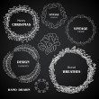Vintage chalkboard wreaths, vignettes and frames set, drawing doodle style, antique ornamental and cute calligraphic design elements and creative decorations — Cтоковый вектор