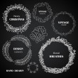 Vintage chalkboard wreaths, vignettes and frames set, drawing doodle style, antique ornamental and cute calligraphic design elements and creative decorations — Vecteur