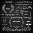 Vintage style chalkboard design elements, set of drawing doodles, frames, ornaments, corners, calligraphic design elements and cute decorations, retro decor — Stock Vector #37735409